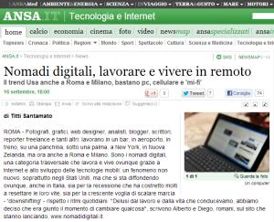 Nomadi digitali  lavorare e vivere in remoto   Tecnologia e Internet   ANSA.it